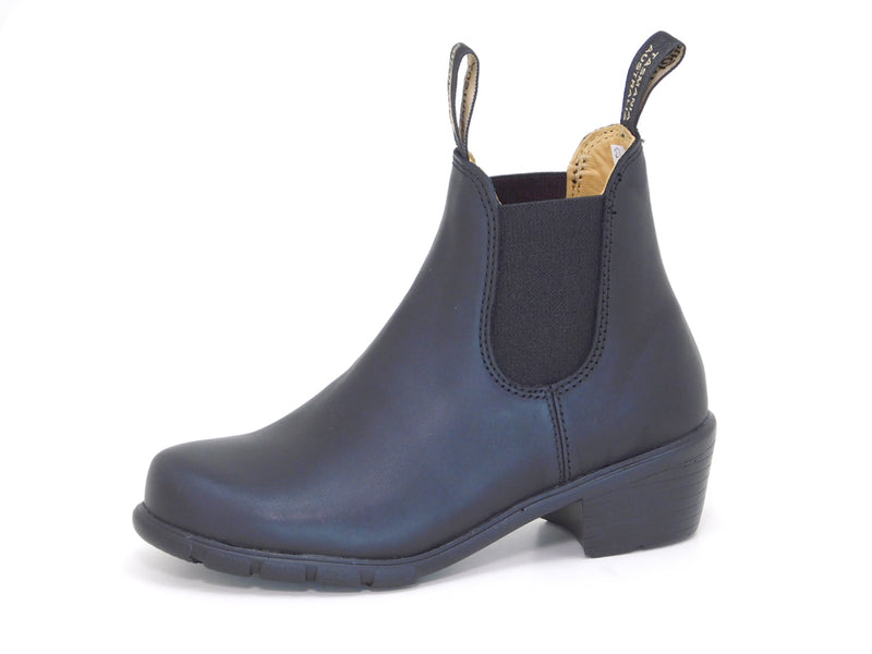 Blundstone 1671 Black Leather Heeled Chelsea Boots