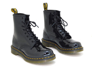 Dr. Martens Women's 1460W Black Patent Lamper Leather Lace up Boot - shoostore