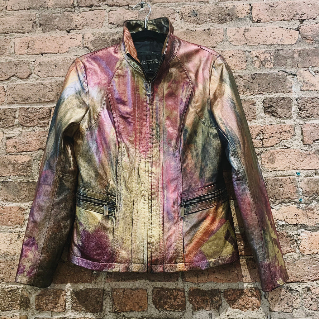 CC x Shoo Metallic Zip Front Leather Jacket
