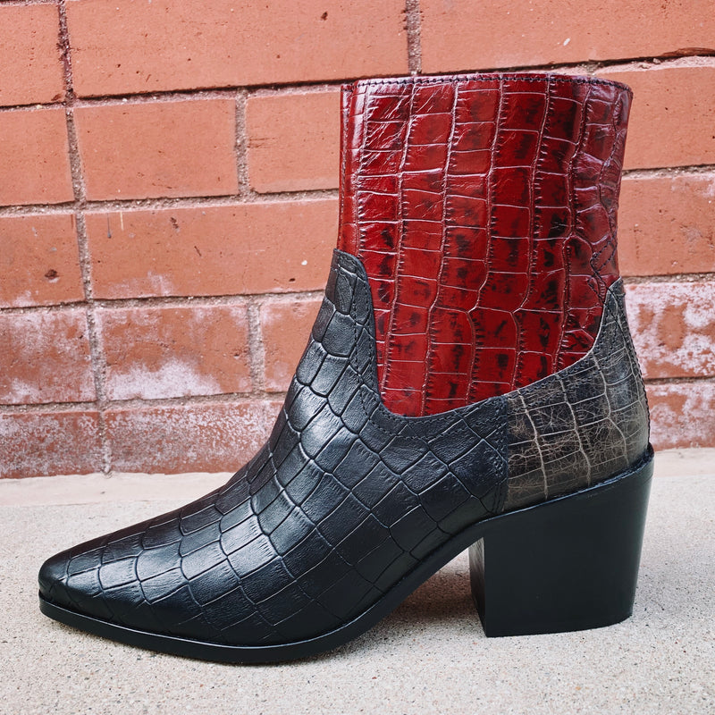 Shoe The Bear Georgia Croc Leather Bootie
