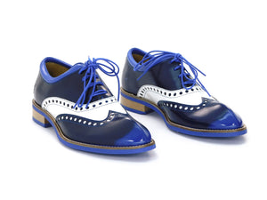John Fluevog Domitian Royal/White Oxford Wingtip - shoostore