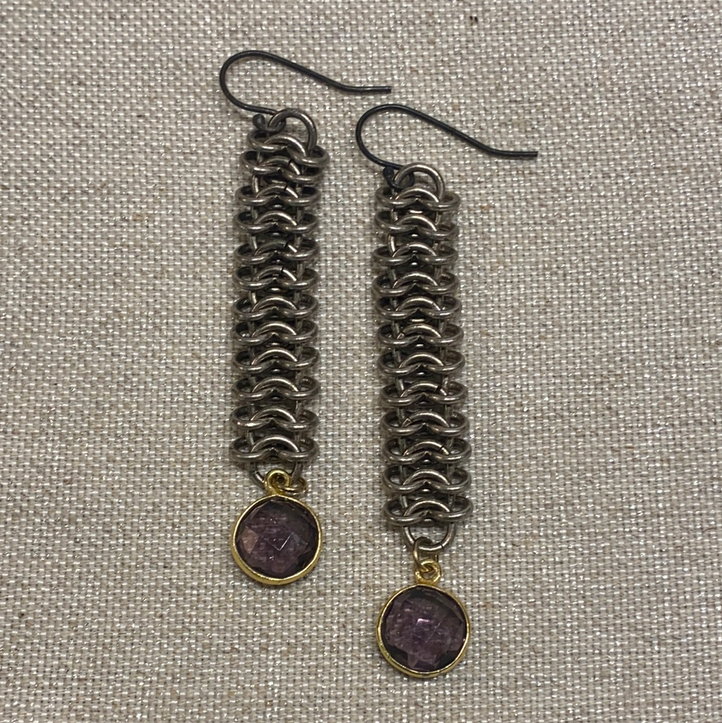 Avaasi Chainmaille Amethyst Drop Earrings