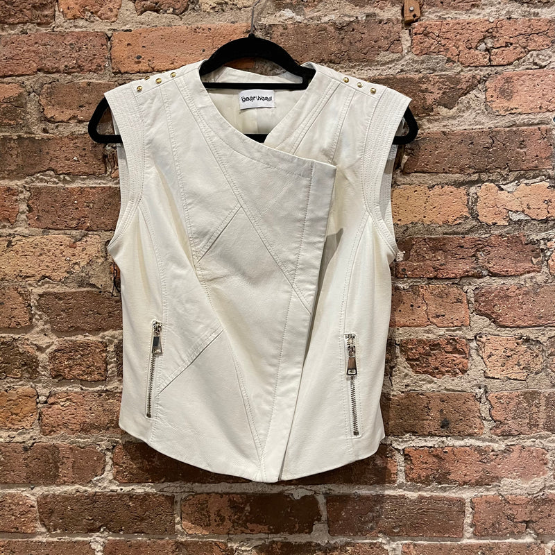 Gearhead White Leather Vest