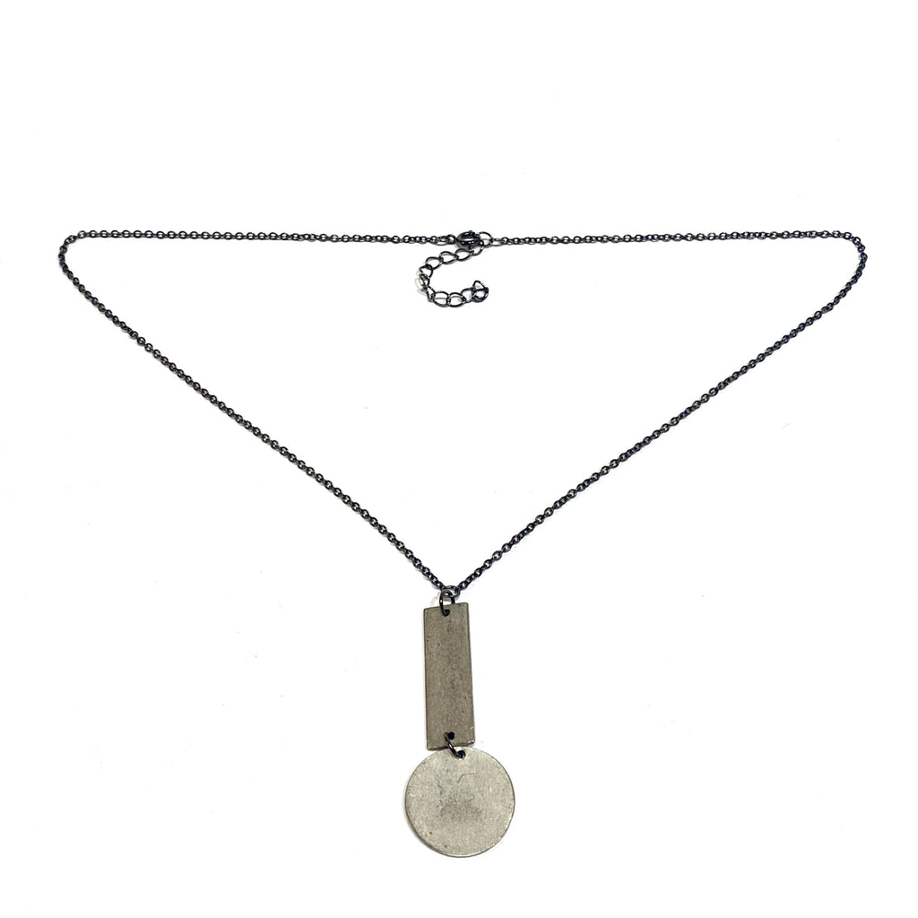 Julie Schmidt Disc and Rectangle Drop Necklace