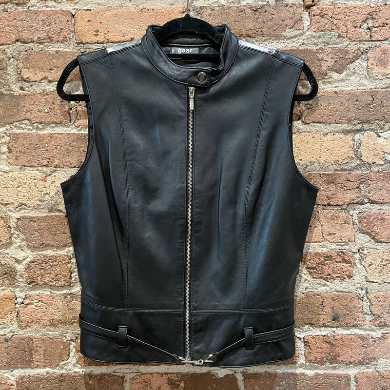Gearhead Black and Silver Leather Vest