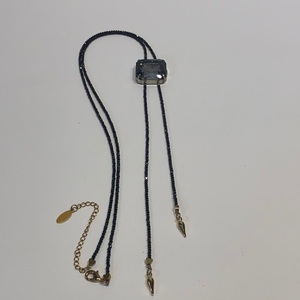Avaasi Black Crystal Bolo Necklace