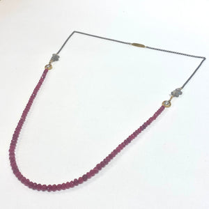 Avaasi Long Pearl, Quartz & Red Spinel Necklace