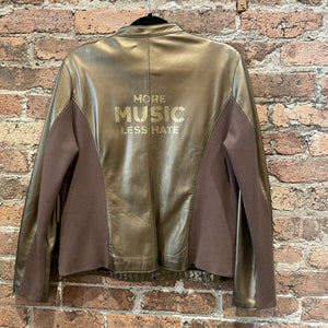 Gearhead Bronze Leather Jacket - More Music Less Hate