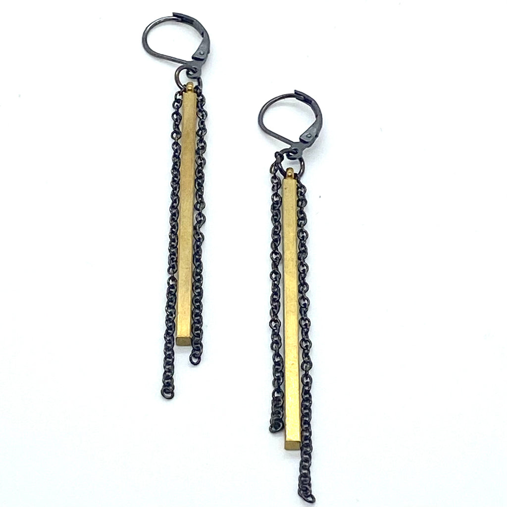 Julie Schmidt Small Bar 2 Chains Earrings