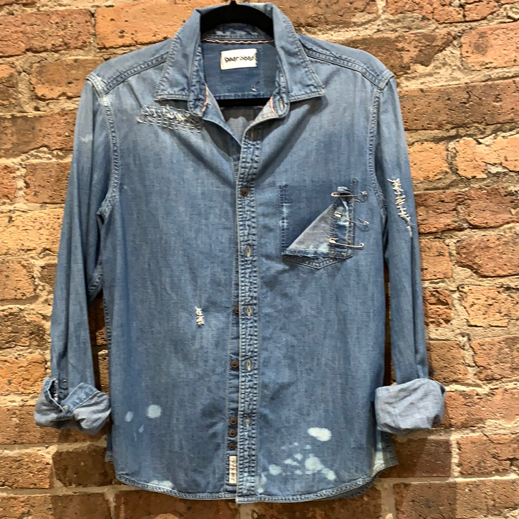 Gearhead Denim Long Sleeve Shirt With Pins
