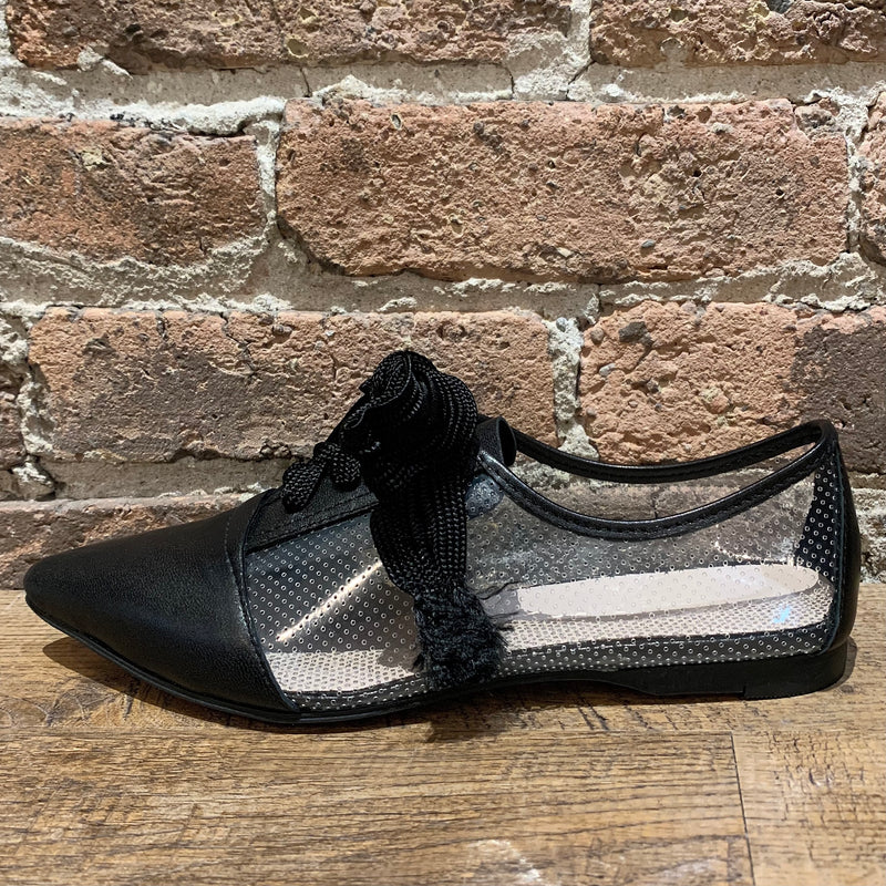 All Black Clear Ribbon Oxford - shoostore