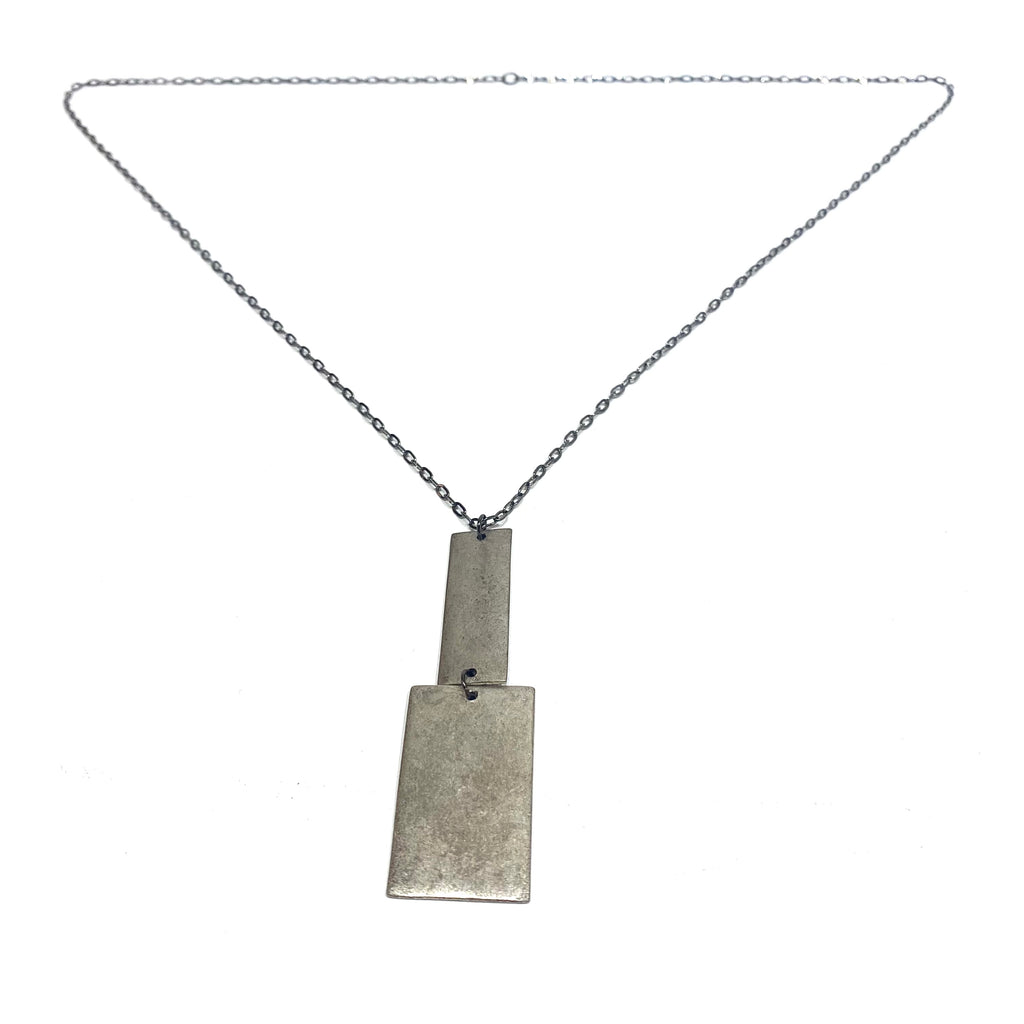 Julie Schmidt Long Disc and Rectangle Drop Necklace