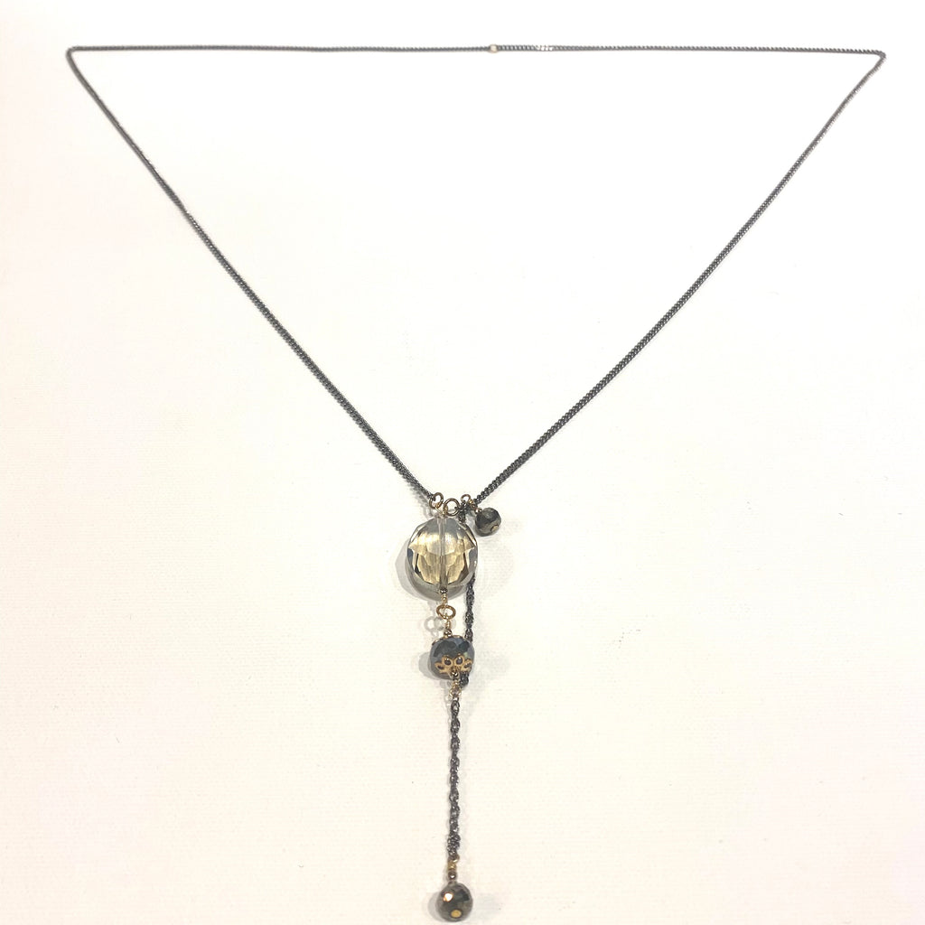 Avaasi Crystal Champagne Labradorite & Pyrite Oval Pendant Necklace