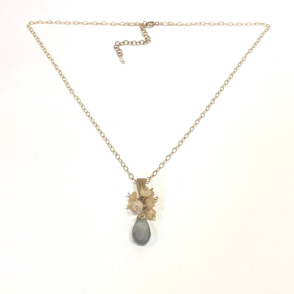 Avaasi Labradorite/Quartz Drop Necklace