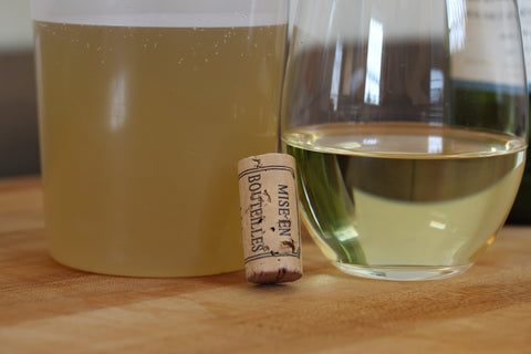 chicken stock and white wine used for making risotto