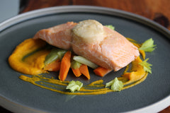 miso poached salmon carrot ginger puree - Cacio Pepe Meals