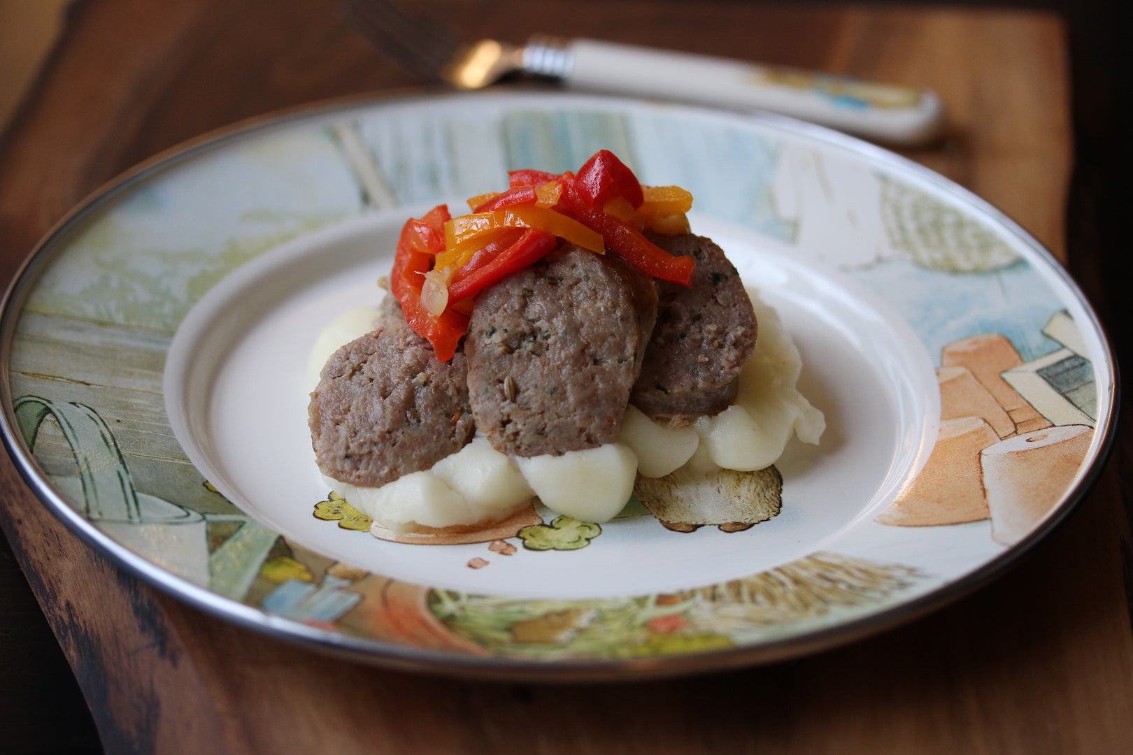 Sausage with peppers and mashed potatoes for kids
