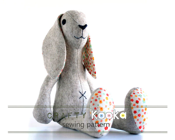 Baby Rabbit plush sewing pattern - instant download pdf