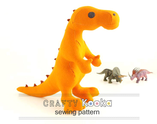 T-Rex  - Soft toy sewing pattern - instant download pdf