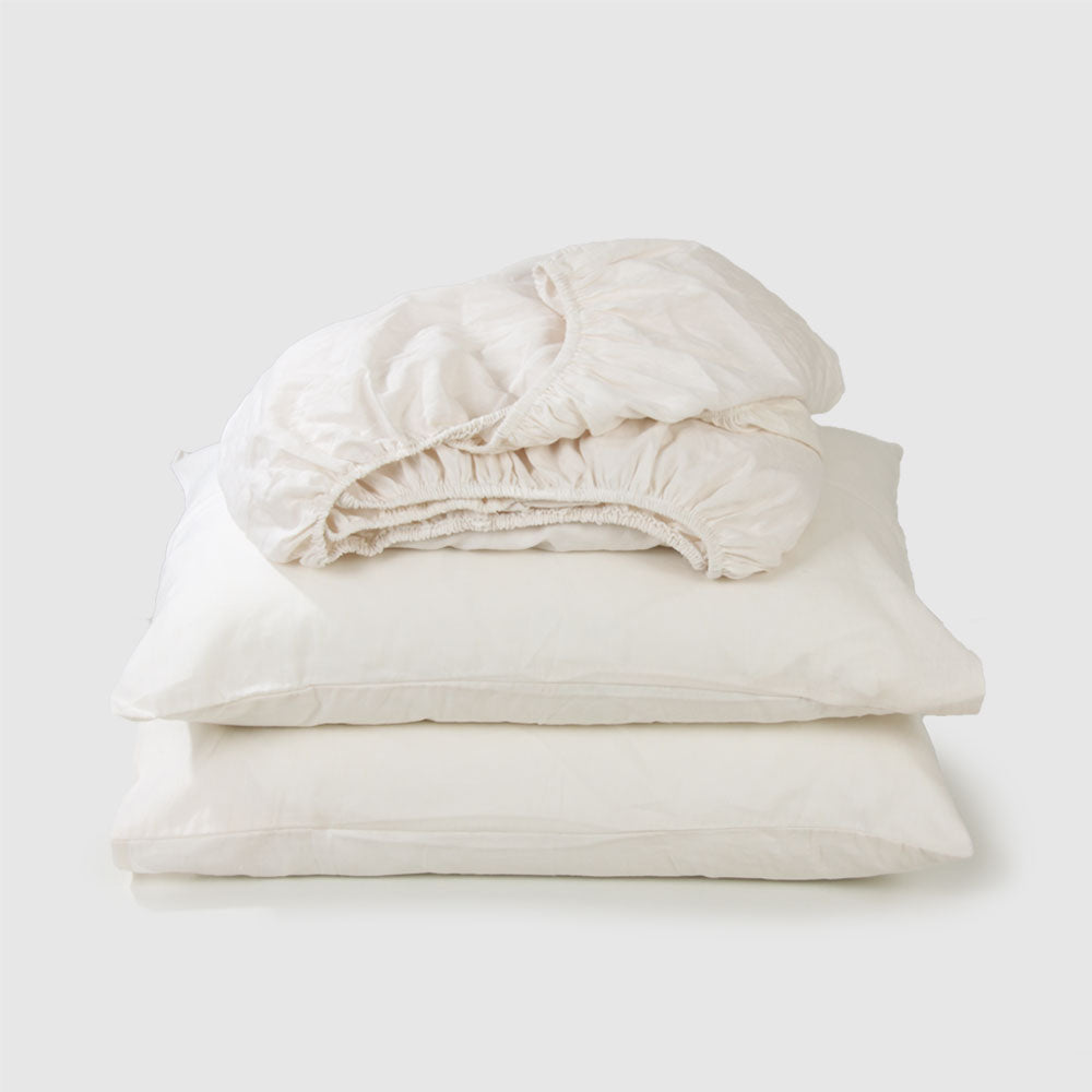 Cotton Linen Fitted Sheet Set