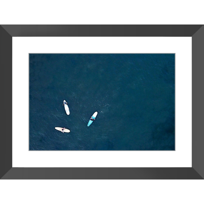 Three Surfers No Cliffs Framed Prints - Lost Above