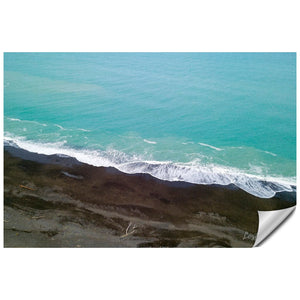 Black Sand Beach and Blue Water