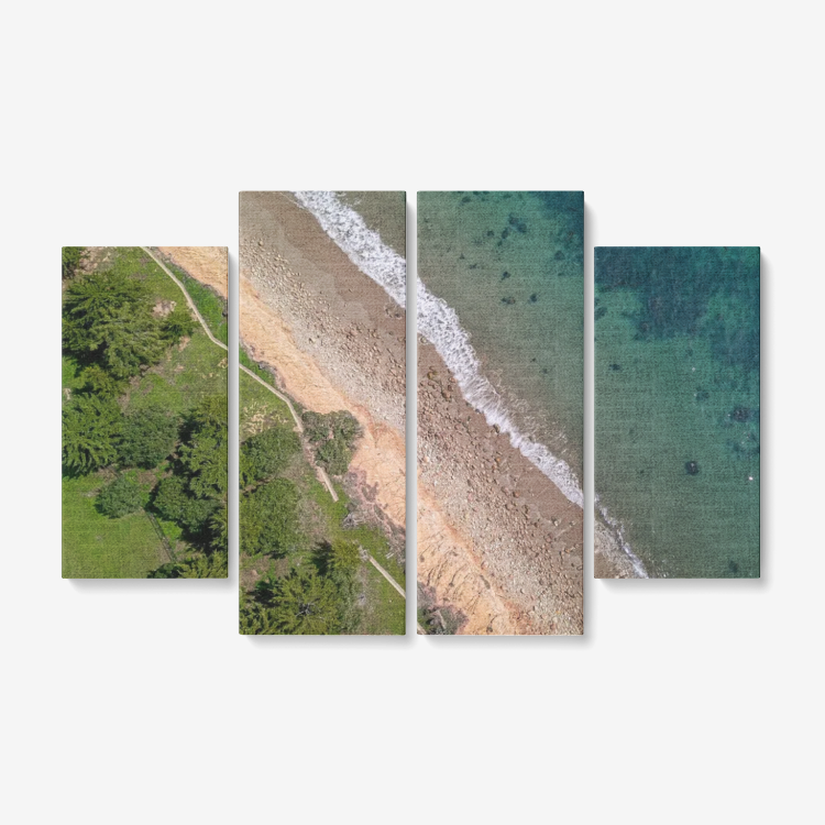 Butterfly Beach 4 Piece Canvas Wall Art Ready to Hang 4x12
