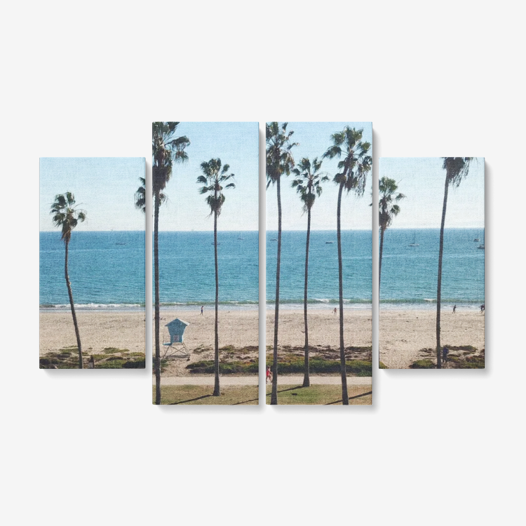 East Beach 4 Piece Canvas Wall Art! Framed Ready to Hang 4x12