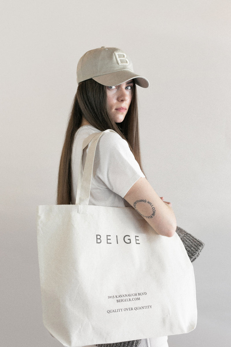 beige canvas tote