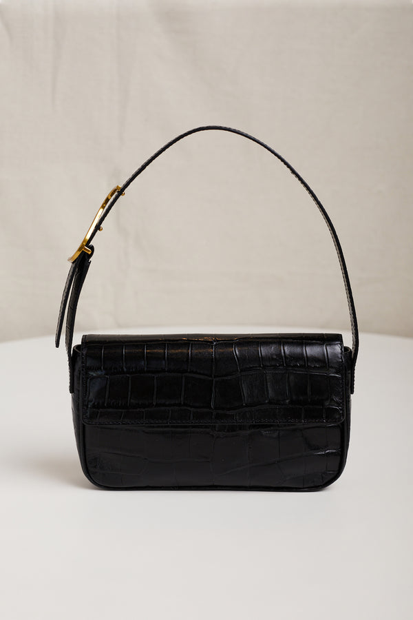 STAUD TOMMY LEATHER BAG IN BLACK