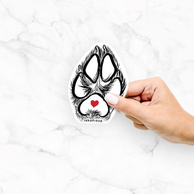 Free hand sketched dog paw decal sticker with a cute red heart