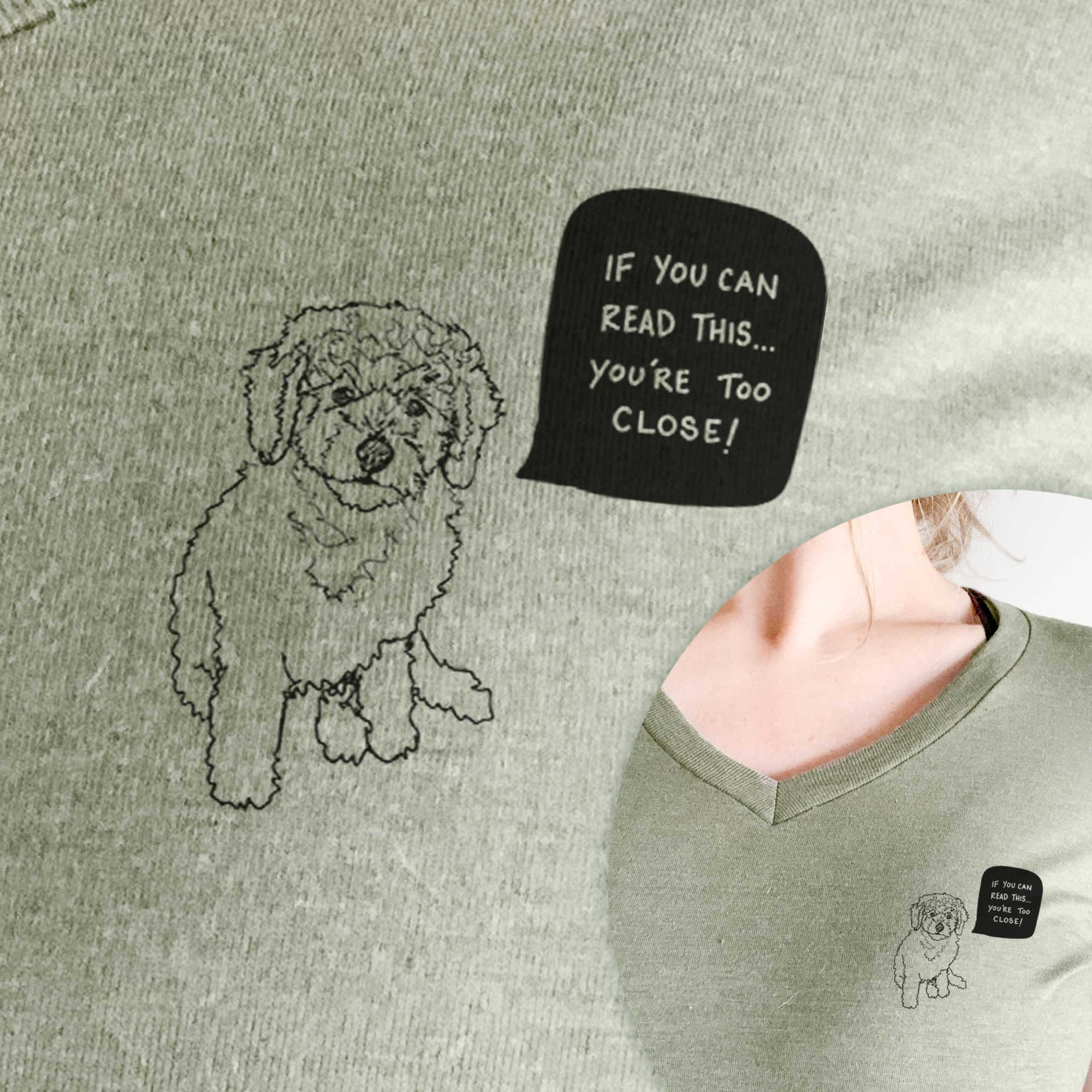 If You Can Read This You're Too Close - Labradoodle Puppy