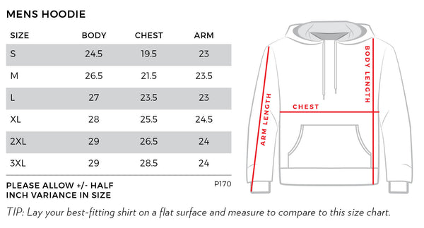 Mens Pullover Hoodie Size Chart