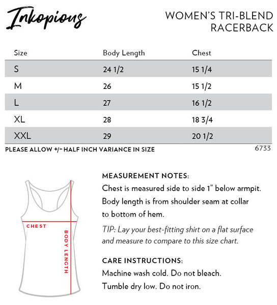 Racerback Size Chart