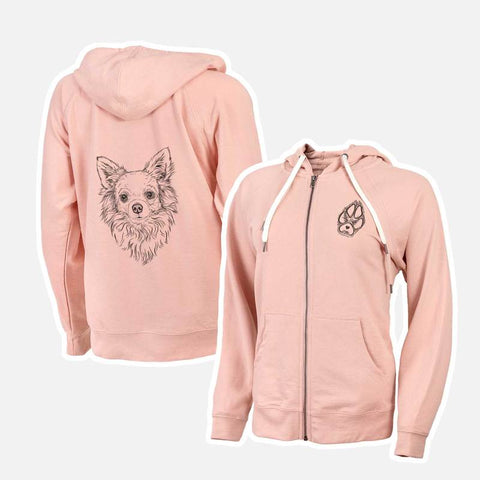 Peach Long Haired Chihuahua Dog Sketch Zip Up Hoodie Printed on Both Sides