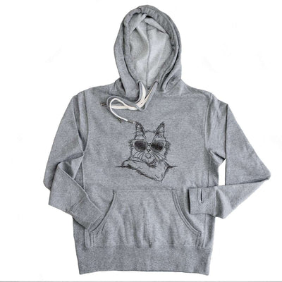 Ginger the Maine Coon - Grey French Terry Hooded Sweatshirt
