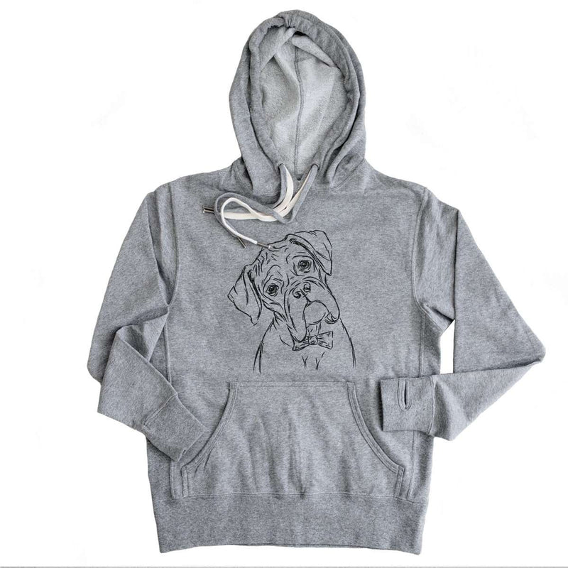 Cooper Boxer - Grey French Terry Hooded Sweatshirt