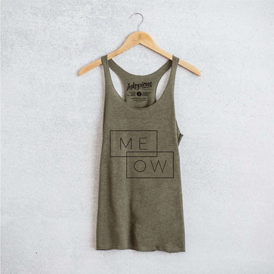 Me-ow Double Rectangle - Tri-Blend Racerback Tank