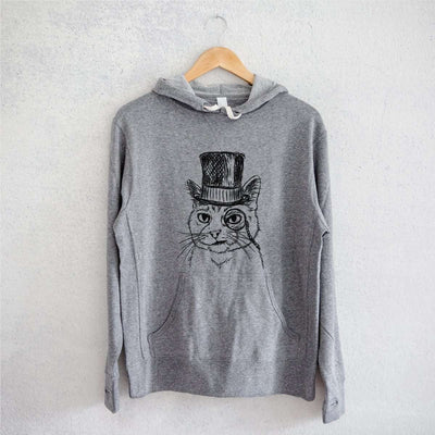 Sir Alfred the Cat - Grey French Terry Hooded Sweatshirt