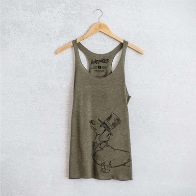 George the Dachshund - Tri-Blend Racerback Tank