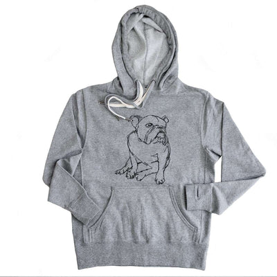 English Bulldog - Doodled - French Terry Hooded Sweatshirt