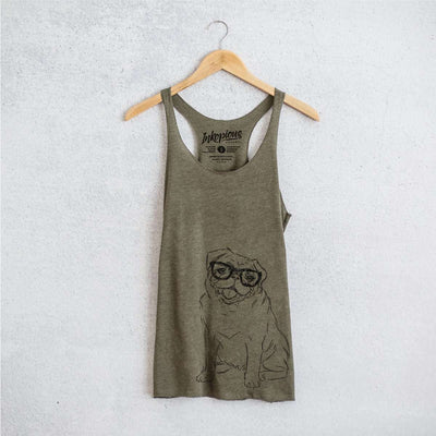 Higgins the Nerd Pug - Tri-Blend Racerback Tank Top