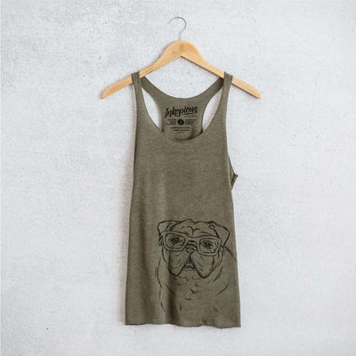 Oliver the Nerd Bulldog - Tri-Blend Racerback Tank