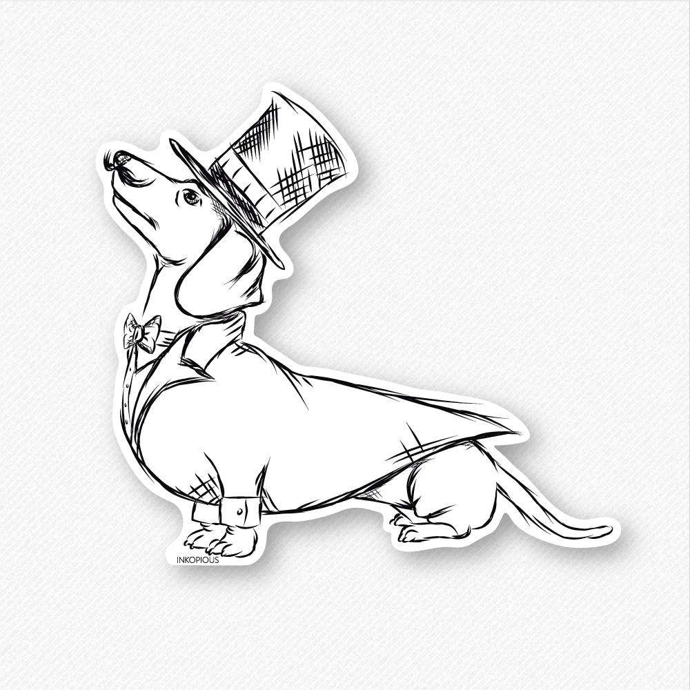 George - Dapper Dachshund - Decal Sticker