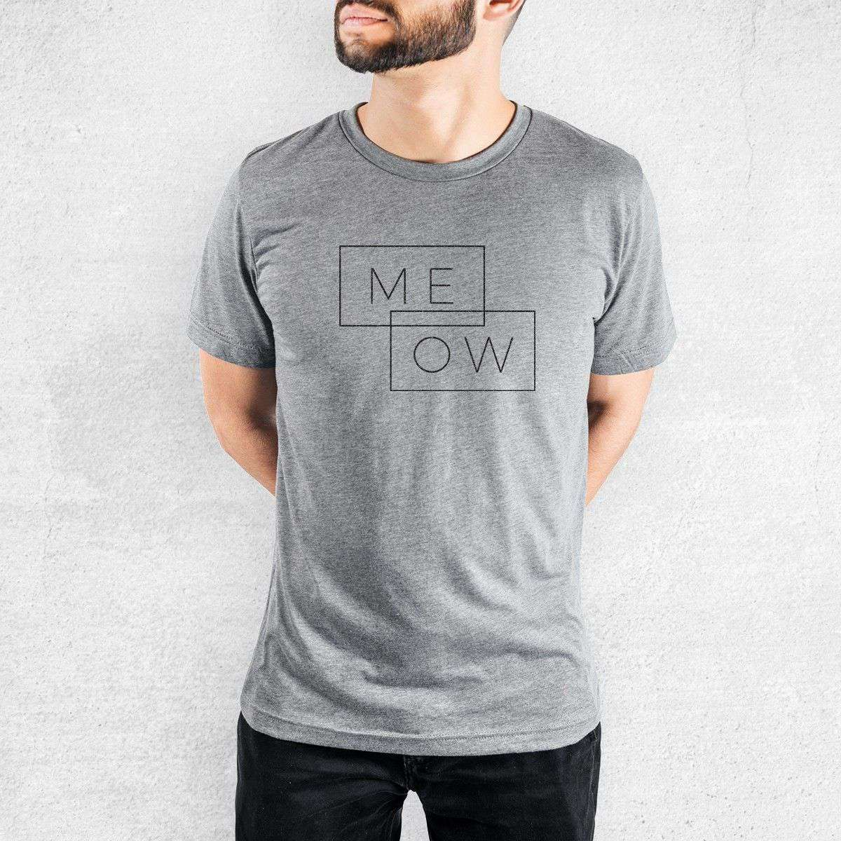 Me-ow Double Rectangle - Tri-Blend Unisex Crew