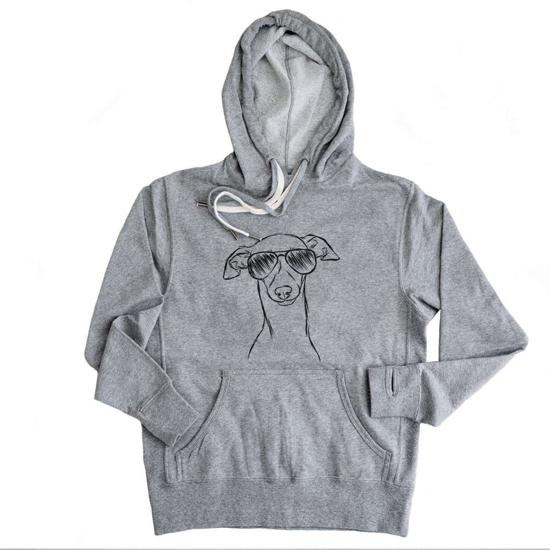 Ziggie the Italian Greyhound/Whippet - Grey French Terry Hooded Sweatshirt