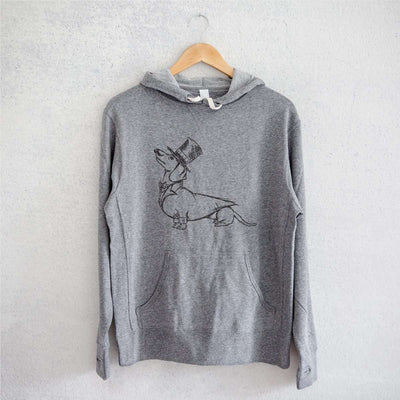 George the Dachshund - Grey French Terry Hooded Sweatshirt