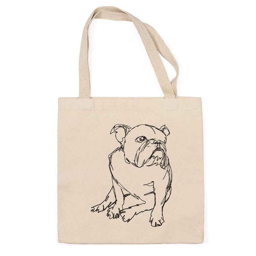 English Bulldog - Doodled - Tote Bag