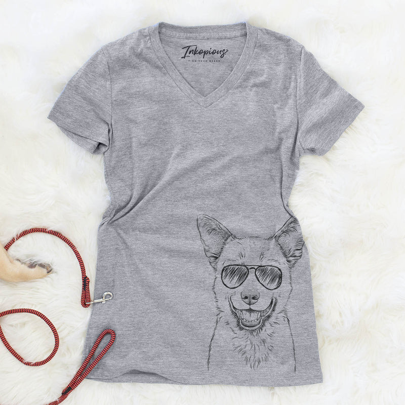 Arden the Australian Kelpie - Women's Modern Fit V-neck Shirt