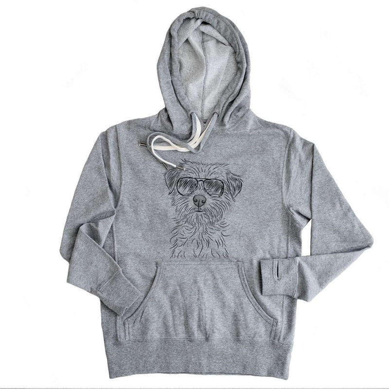 Benjamin the Border Terrier - Grey French Terry Hooded Sweatshirt